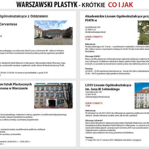 Warszawskie licea plastyczne – krótkie co ijak